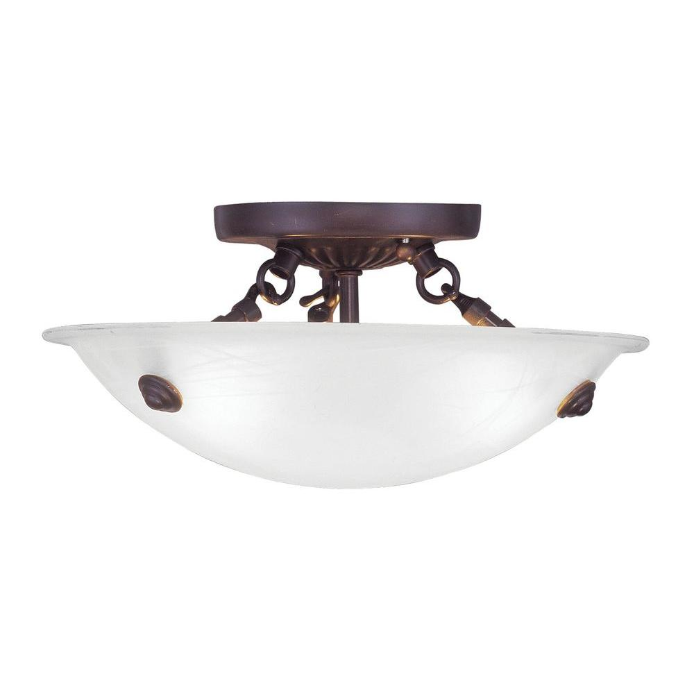 Teisha 3-Light Bronze Flushmount with White Alabaster Glass Shade