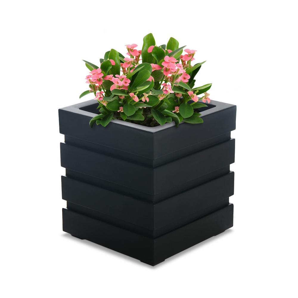 mayne lakeland 16 in  square black plastic planter-5866-b