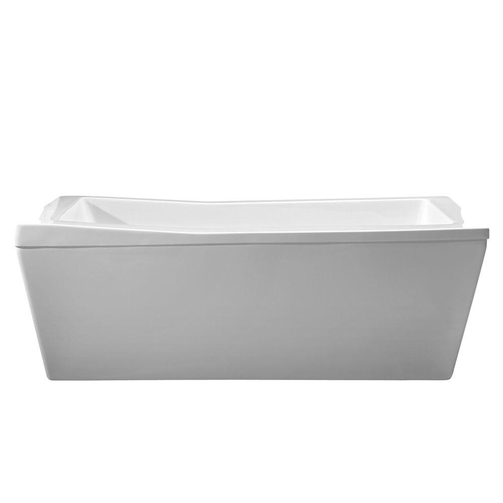 freestanding venzi collection home tub quarter bathtub with drain center vida depot oval acrylic x