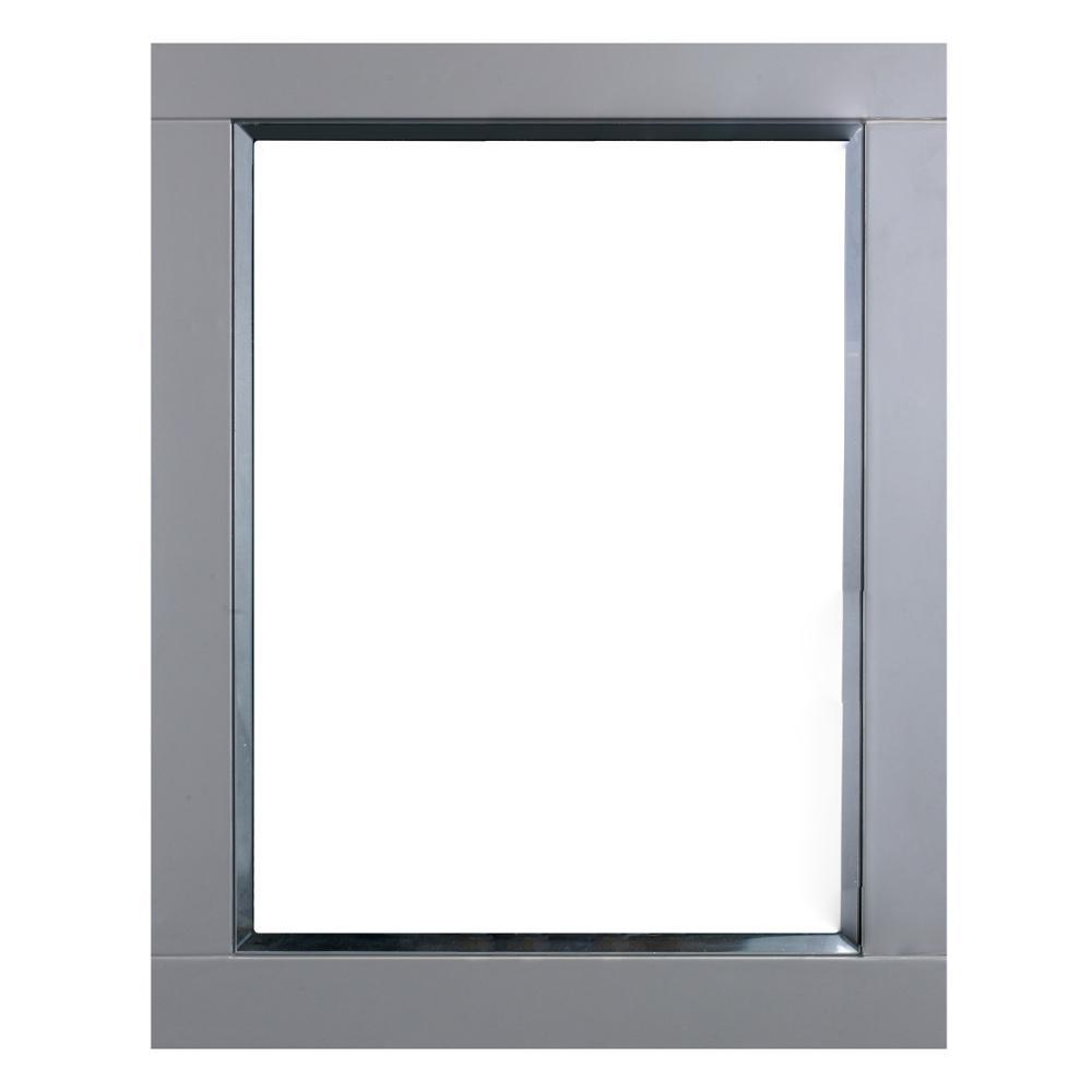 Eviva Aberdeen 24 in. W x 30 in. H Framed Wall Mounted Vanity Bathroom  Mirror in Gray