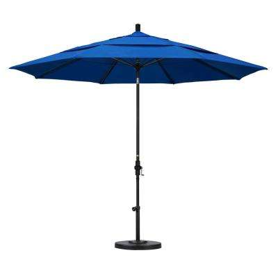 11 ft. Fiberglass Collar Tilt Double Vented Patio Umbrella in Pacific Blue Olefin