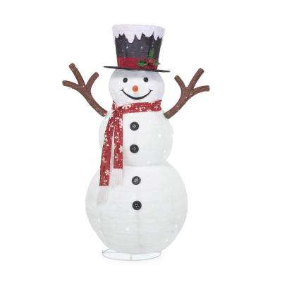 72 in. Christmas 120-Light LED Collapsible Snowman with Red Scarf