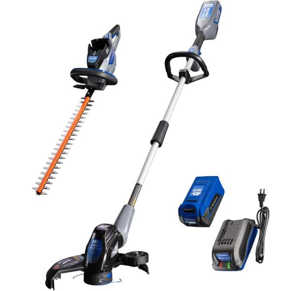 40V String Trimmer and Hedge Trimmer with 40V 2.0 Ah Battery and Battery Charger