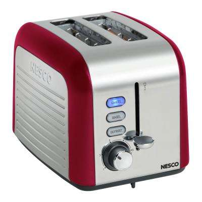 2-Slice Red Wide Slot Toaster with Crumb Tray