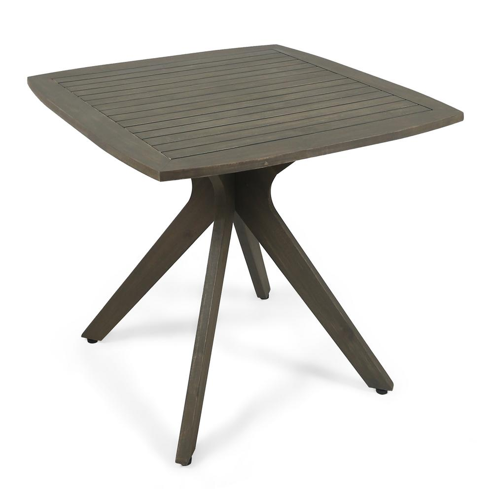Stamford Gray Square Wood Outdoor Dining Table With X Base