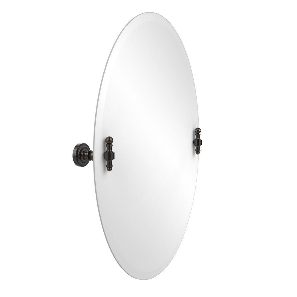 Allied Brass Retro-Dot Collection 21 in. x 29 in. Frameless Oval Single Tilt Mirror with Beveled Edge in Oil Rubbed Bronze