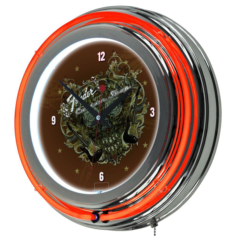 Trademark 14 in. Fender Sea of Sorrow Double Ring Neon Wall Clock