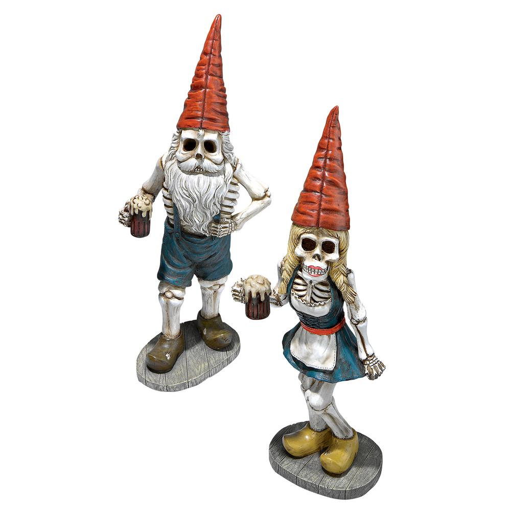Design Toscano Bavarian Oktoberfest Skeleton Gnome Statue Set (2-Piece) This set of beer-swigging Bavarian gnomes had so much fun at the brew tents for the 1810 wedding of King Ludwig that they just never left. Our skeleton crew gnome collectibles are ready to raise a frothy mug of Bavarian beer to the year-round Oktoberfest in your very own backyard. Cast in quality designer resin complete with Munich style dirndl dress, burly beard and lederhosen, our Germanic dwarves are individually hand-painted with mythical elf magic as fantasy fun Oktoberfest collectibles and imaginative Halloween troll gifts. Hans: 7 in. W x 5 in. D x 19.50 in. H, 3 lbs. Gerta: 6.50 in. W x 4.50 in. D x 18 in. H, 3 lbs.