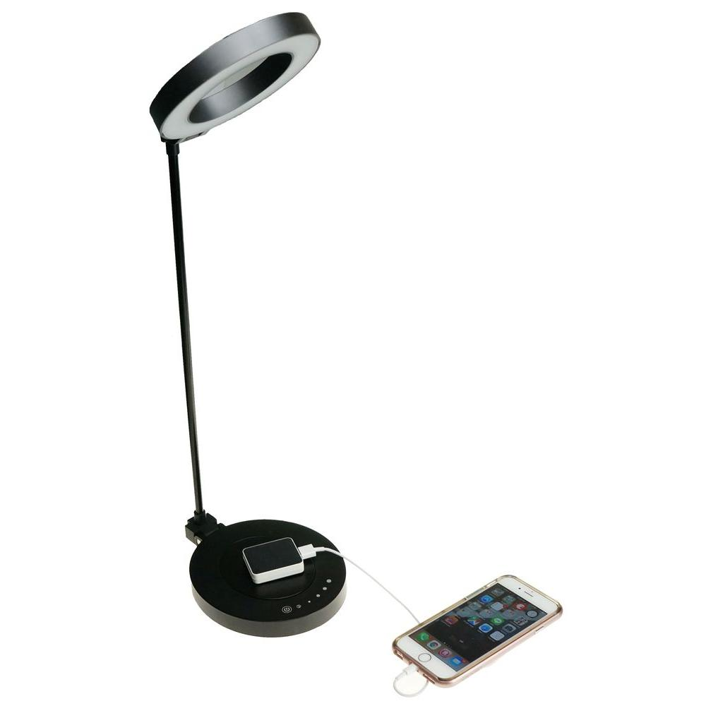 Charming LED Touch Dimmer Black Desk Lamp With Qi Certified Wireless Charging