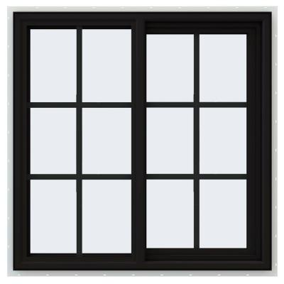 36 in. x 36 in. V-4500 Series Black FiniShield Vinyl Right-Handed Sliding Window with Colonial Grids/Grilles