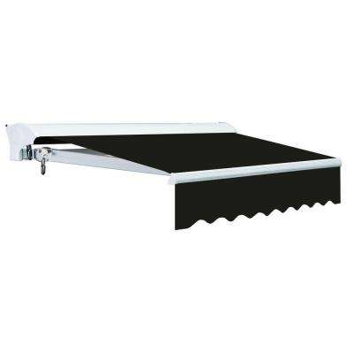 8 ft. Luxury L Series Semi-Cassette Manual Retractable Patio Awning in Black (6 ft. Projection)