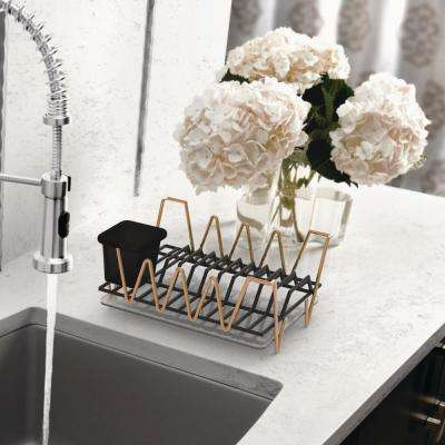 Compact Rose Gold Dish Rack Set