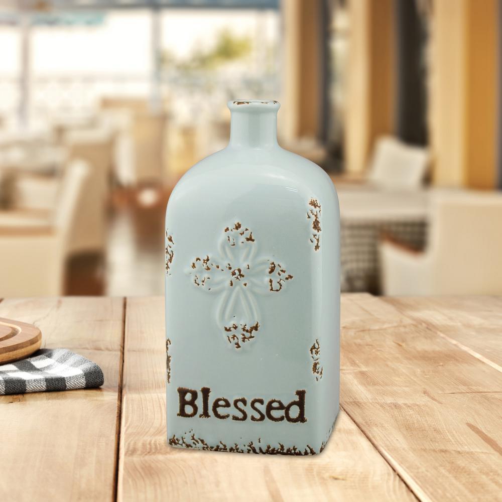 7.75 in. Ceramic Blessed Vase in Worn Pale Ocean
