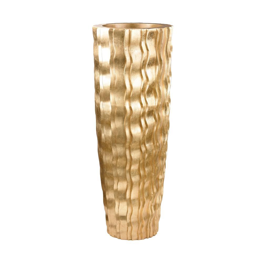 Wave 47 in. Fiberglass Decorative Vase in Gold