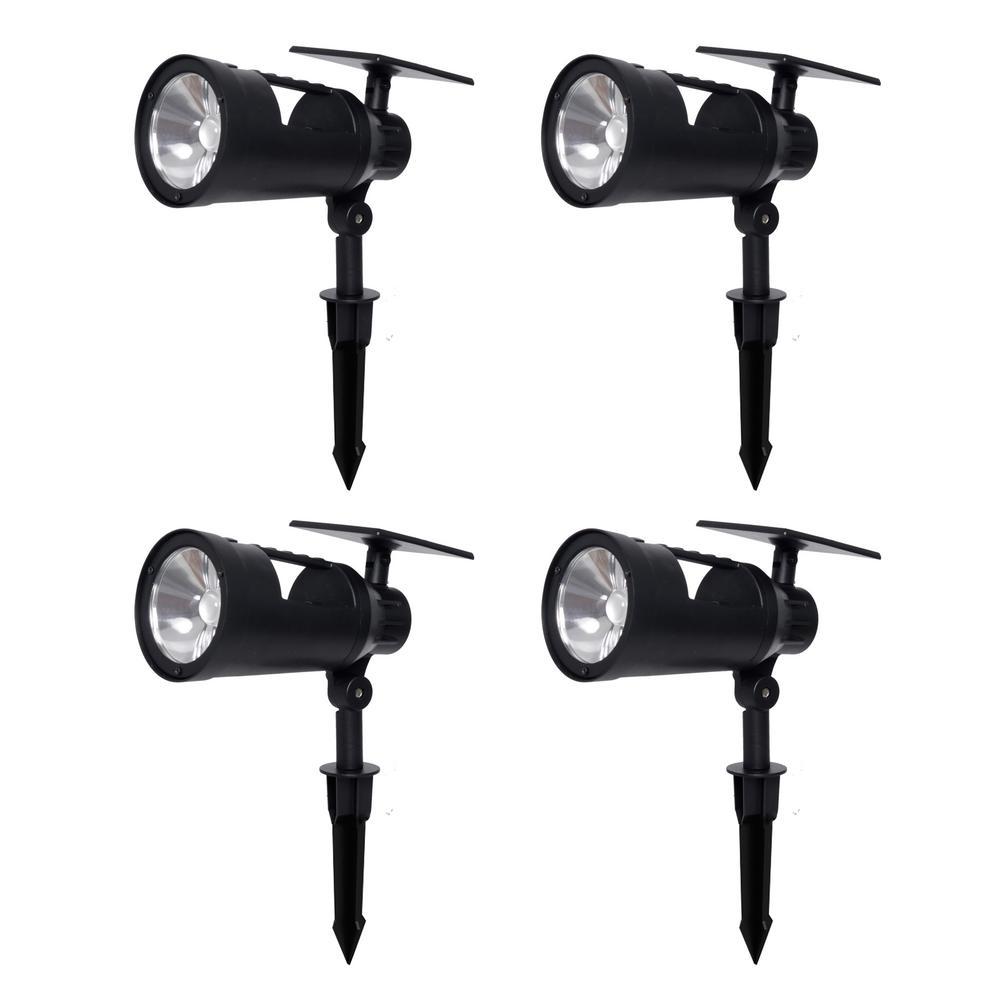 Solar 3.7-Volt Black LED Spotlight with Multi-Function Flashlight (4-Pack)