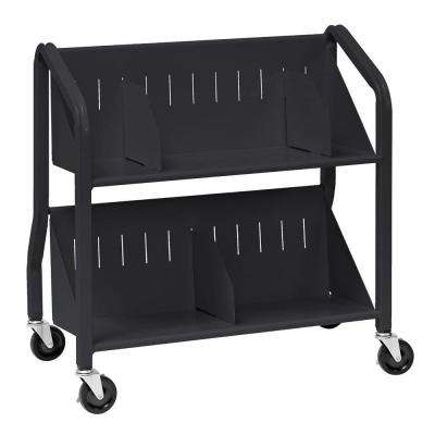 Sloped Black 2-Shelf Book Cart with Dividers