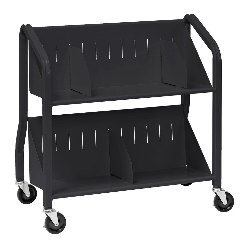 Buddy Products Sloped Black 2-Shelf Book Cart with Dividers