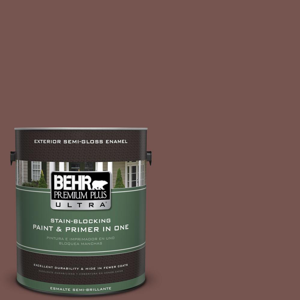 BEHR Premium Plus Ultra 1-gal. #PPU2-20 Oxblood Semi-Gloss Enamel Exterior Paint