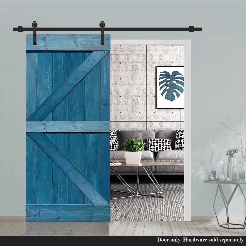 Calhome K Series 30 In X 84 In Pre Assembled Ocean Blue Stained Solid Pine Wood Interior Sliding Barn Door Slab Door Asm K30n The Home Depot