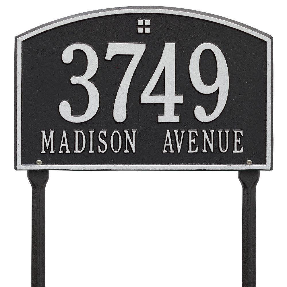 Cape Charles Rectangular Black/Silver Standard Lawn 2-Line Address Plaque