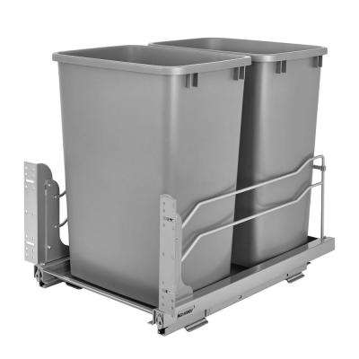 22.875 in. H x 14.75 in. W x 22.25 in. D Double 50 Qt. Pull-Out Silver Waste Container with Soft-Close Slides