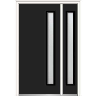 48 in. x 80 in. Viola Frosted Glass Right-Hand Inswing 1-Lite Midcentury Painted Steel Prehung Front Door with Sidelite