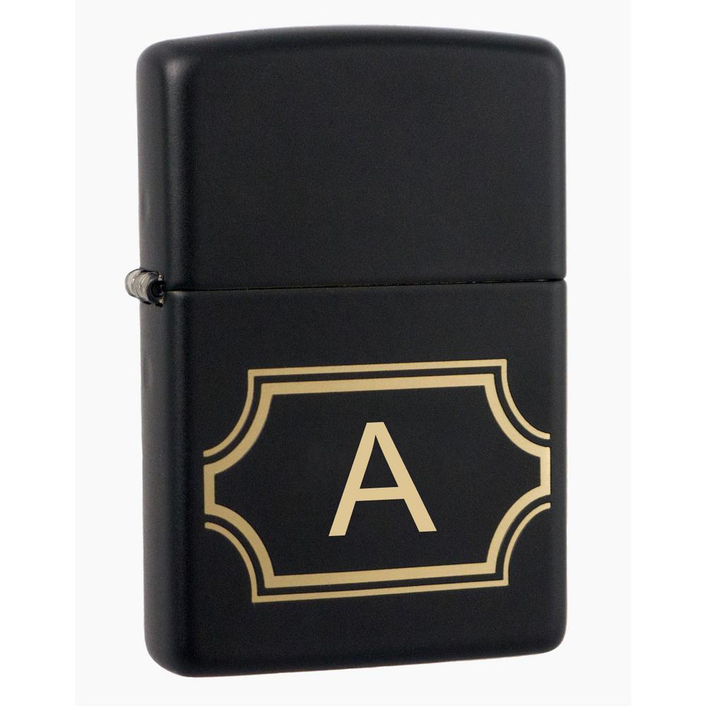 "Black Matte Zippo Lighter Initial Letter ""A"""