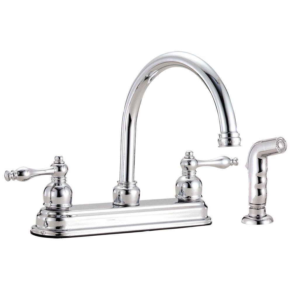 Design House Saratoga 2-Handle Standard Kitchen Faucet with Side Sprayer in Polished Chrome