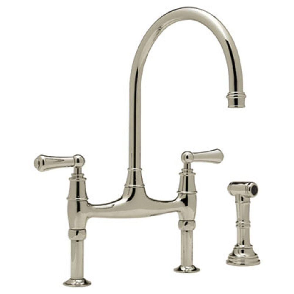 Perrin and Rowe 2-Handle Bridge Kitchen Faucet in Satin Nickel
