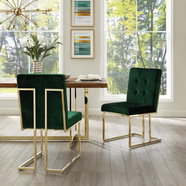 Triniti Hunter Green/Gold Velvet Button Tufted Armless Dining Chair (Set of 2)