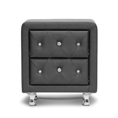 Stella Black Faux Leather Upholstered Nighstand