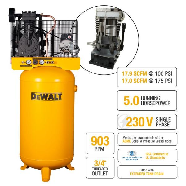 Dewalt 80 Gal Stationary Electric Air Compressor Dxcmv5048055 The Home Depot