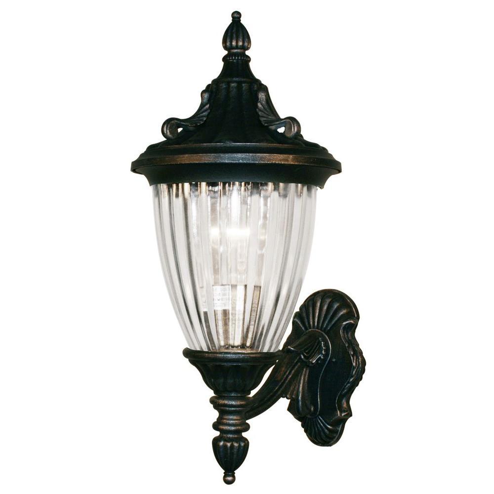 Tulen Lawrence 1-Light Outdoor Black Silver Incandescent Wall Light