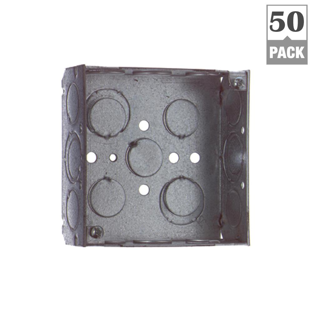 Marvelous 4 Square Metal Electrical Junction Box 1 2 3 4 Knockouts House Wiring Cloud Staixuggs Outletorg