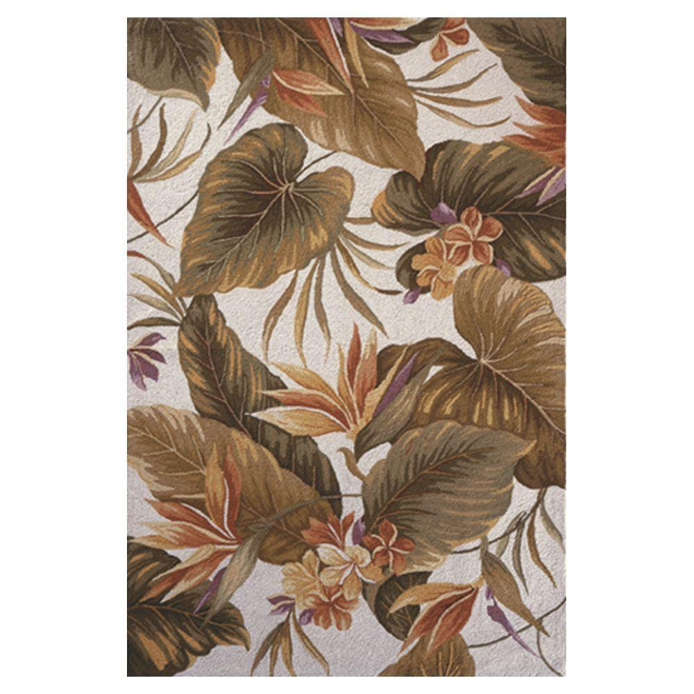 Kas Rugs Bird of Paradise Ivory 3 ft. 6 in. x 5 ft. 6 in. Area Rug