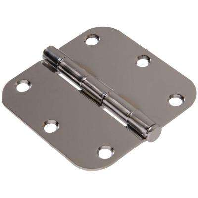 3-1/2 in. Chrome Residential Door Hinge with 5/8 in. Round Corner Removable Pin Full Mortise (5-Pack)