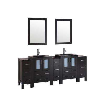 84 in. W Double Bath Vanity with Tempered Glass Vanity Top in Black with Black Basin and Mirror