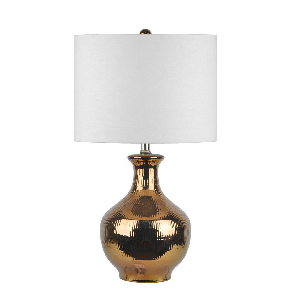 Azalea Ceramic Jug 23 in. Gold Table Lamp