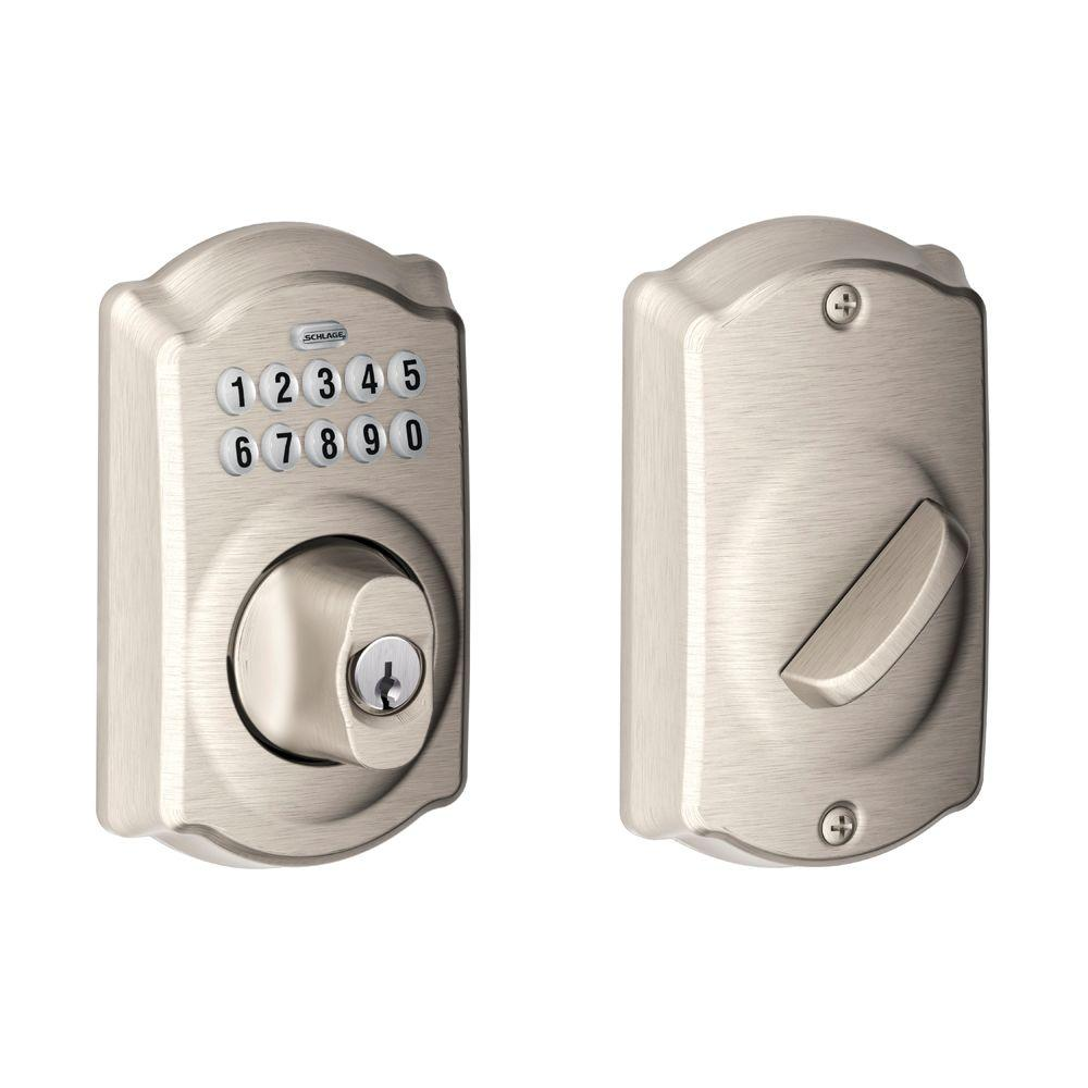 Schlage Camelot Satin Nickel Keypad Electronic Deadbolt-BE365 CAM 619 - The  Home Depot