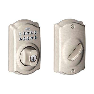 Camelot Satin Nickel Keypad Electronic Deadbolt
