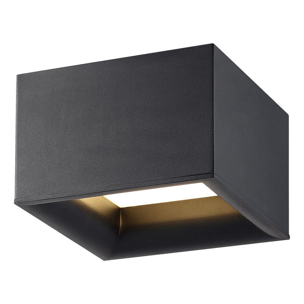 Bloc 30-Watt 7.25 in. Black Integrated LED Flush Mount