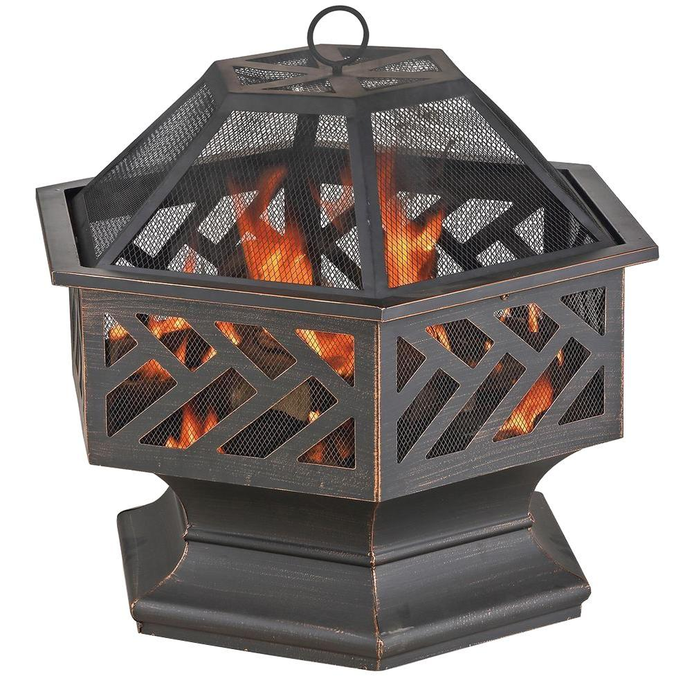 Endless Summer 24.8 in. W X 24 in. Hexagon Wood Burning Firepit with Decorative Cutouts