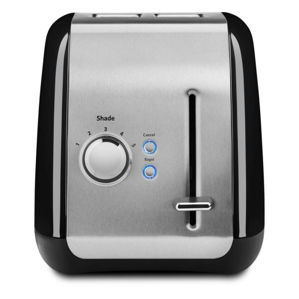 KitchenAid 2-Slice Onyx Black and Silver Wide Slot Toaster with Crumb