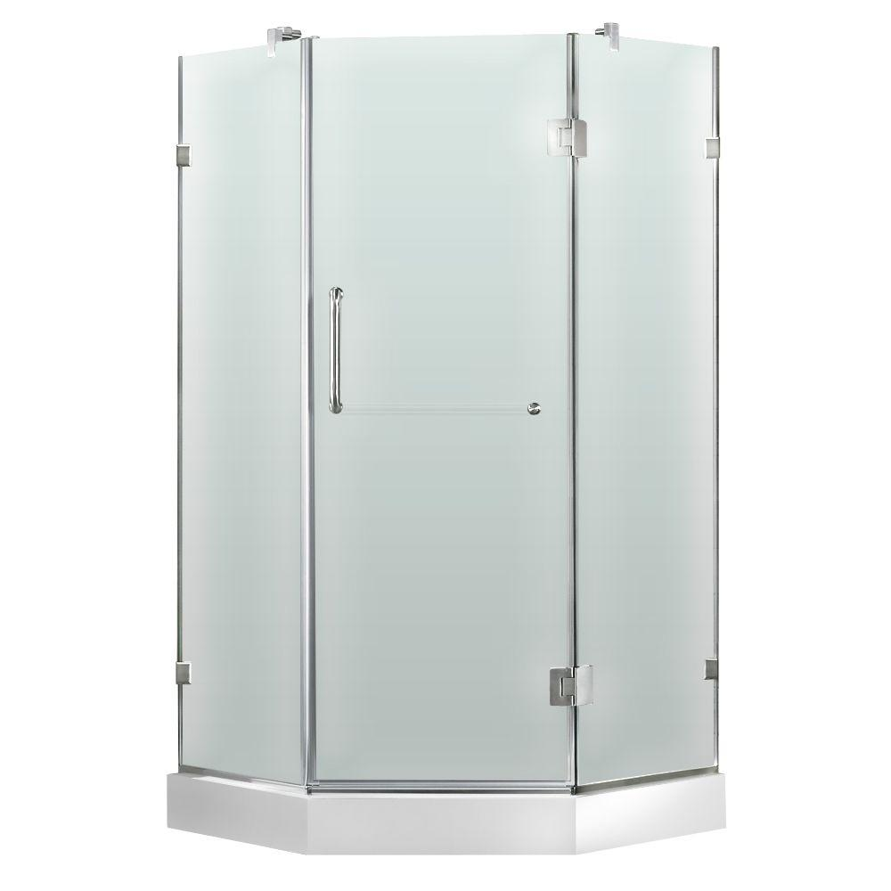 Vigo 36 in. x 78 in. Frameless Neo-Angle Shower Enclosure in Brushed Nickel and Frosted Glass with Base