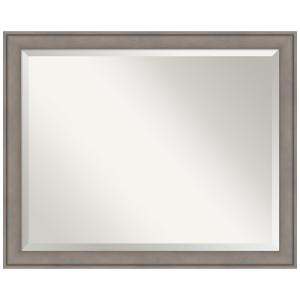 Graywash Wood 31 in. W x 25 in. H Single Contemporary Bathroom Vanity Mirror