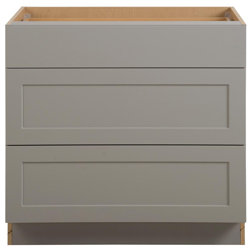 Cambridge Assembled 36x34.5x24.5 in. Base Cabinet with 3-Soft Close Drawers in