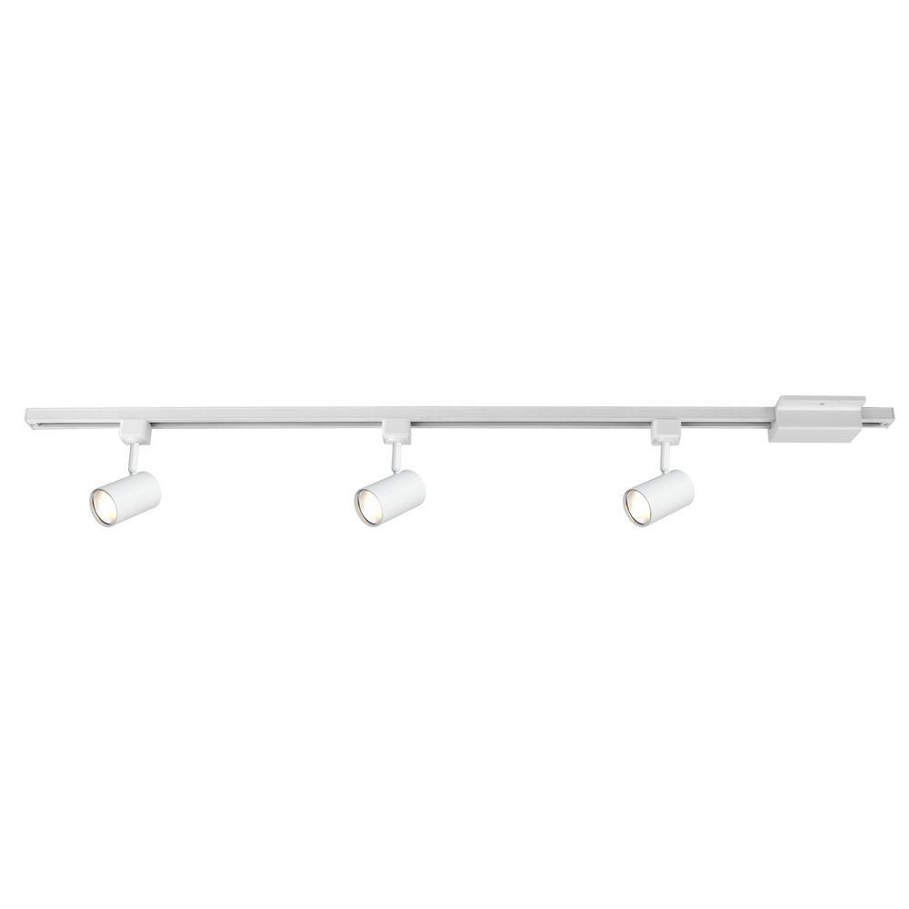 4-ft. 3-Light White LED Linear Track Lighting Kit with Mini Cylinder Step Heads