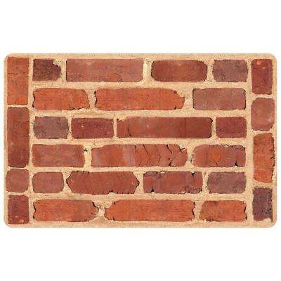 Multi Color 18 in. x 27 in. Neoprene Framed Brick Door Mat