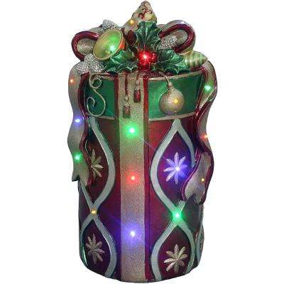 26 in. Christmas Tall Round Gift Box with Bow in Red/Gold with Long-Lasting LED Lights