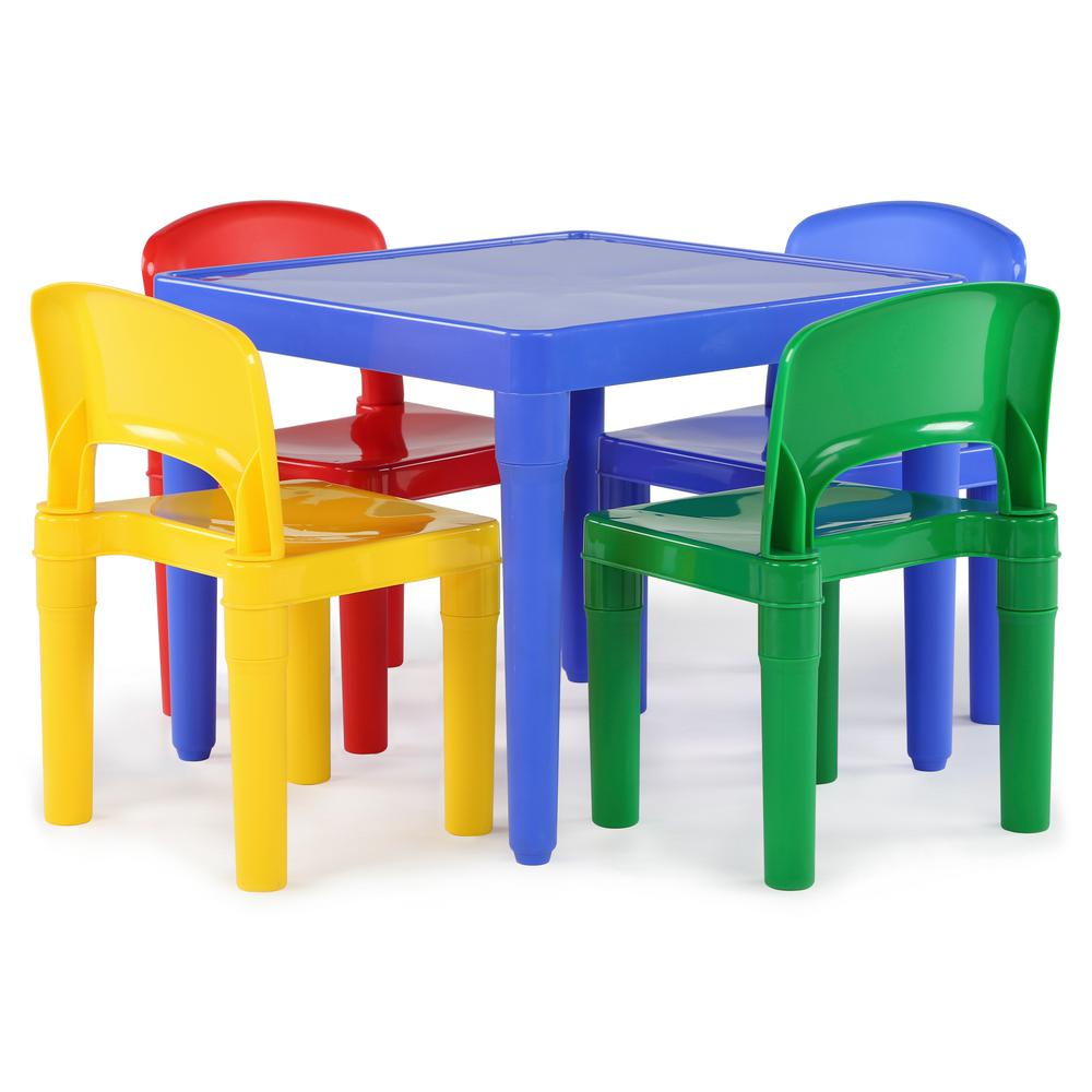 Tot Tutors Playtime 5 Piece Primary Colors Kids Plastic Table And Chair Set Tc914 The Home Depot